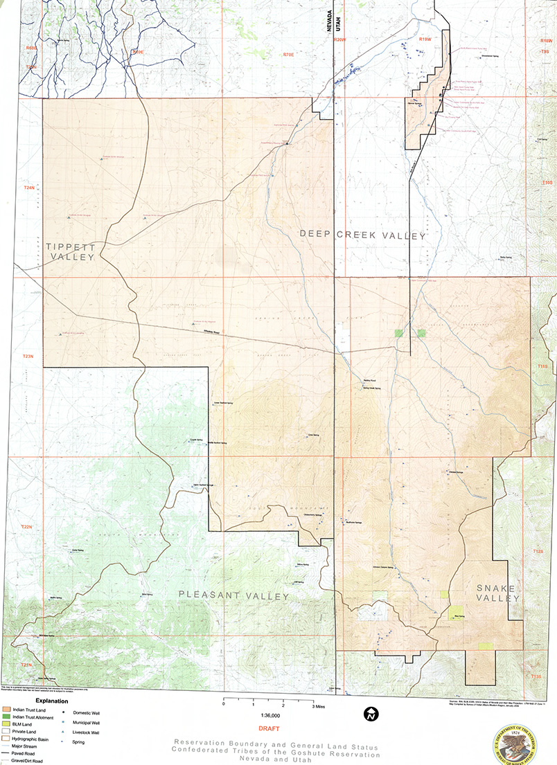 Reservation lands in Nevada and Utah for the Confederated Tribes of the Goshutes