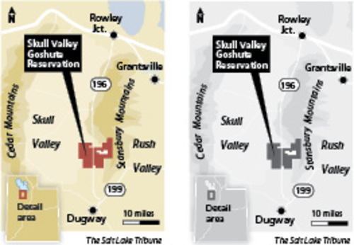 Skull Valley Reservation. Map courtest The Salt Lake Tribune.