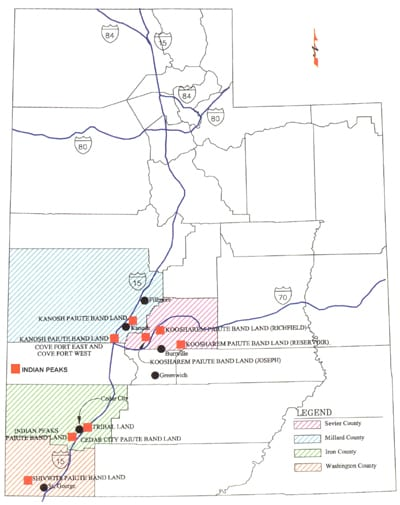 Paiute Reservation map