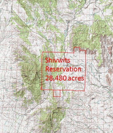 Shivwits Band Reservation map