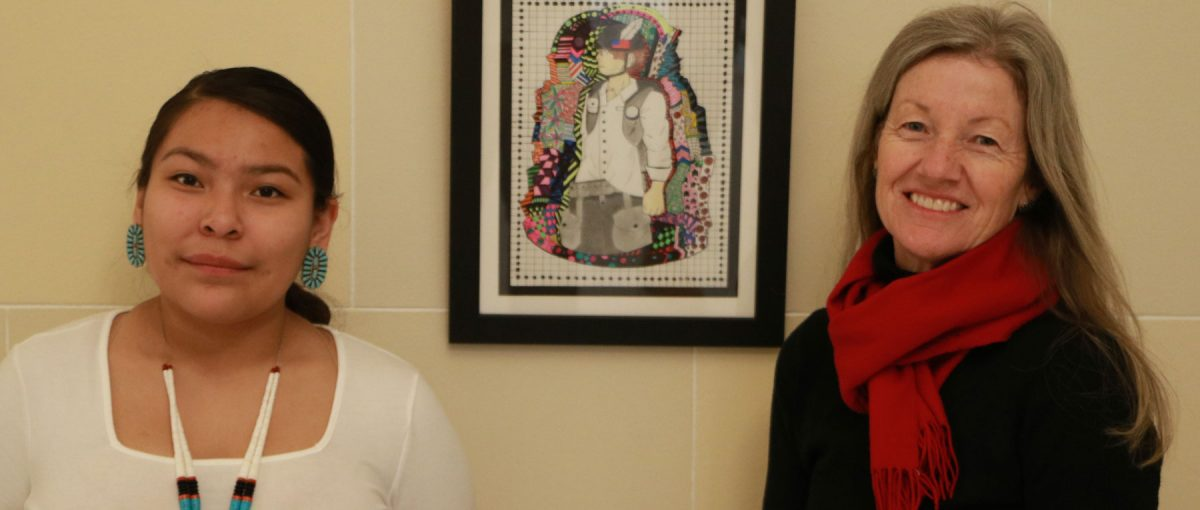 Navajo artist and Whitehorse student Leyonah Endischee with art teacher Georgiana Simpson.