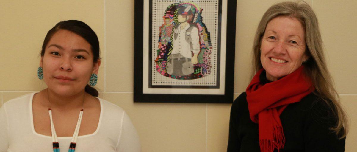 Navajo artist and Whitehorse student Leyonah Endischee with art teacher Georgiana Simpson.